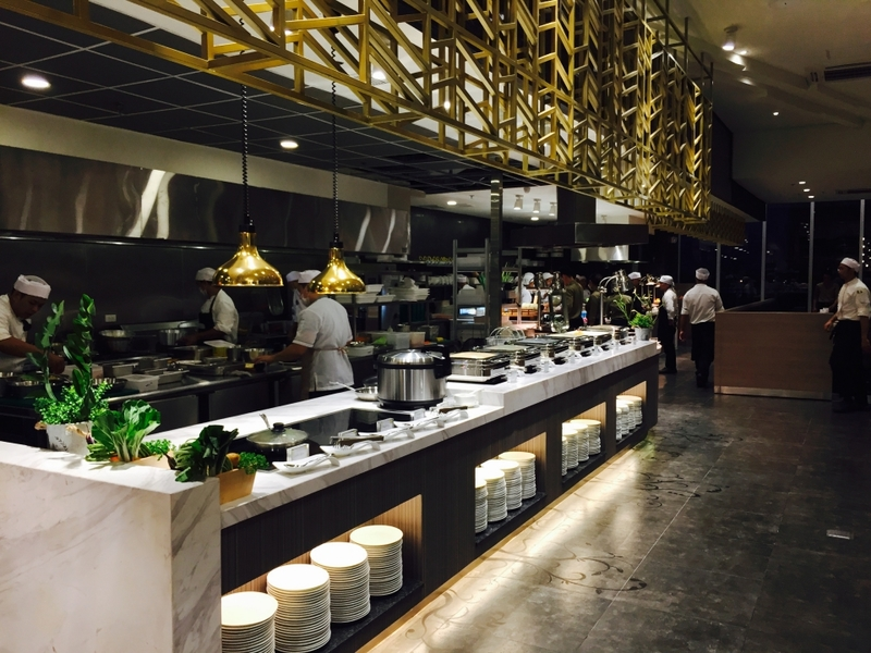 golden installation on the top of buffet table in Paranaque restaurant