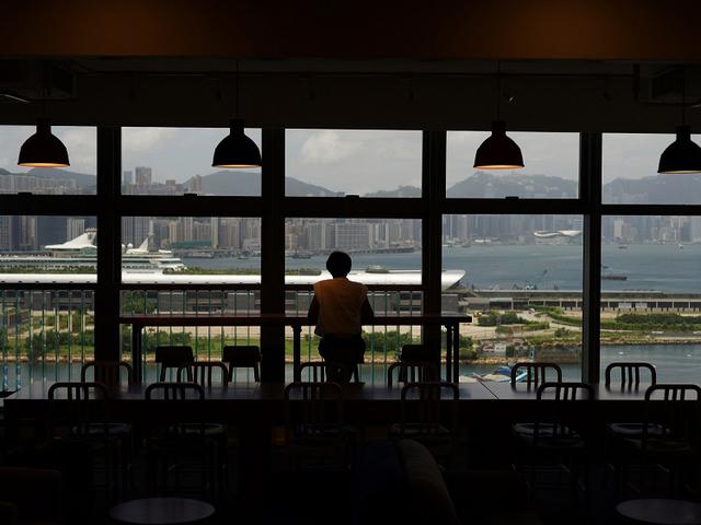 window view overseeing hongkong cityscape