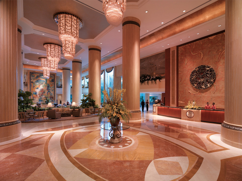 singapore mice venue with several big pillars and patterned floors