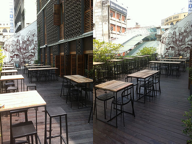 day time outdoor bar with city view