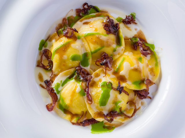 homemade ravioli stuffed with two different sauces