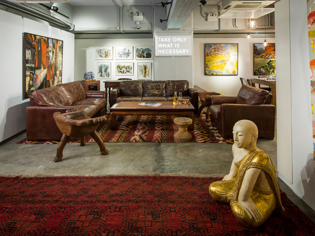 a unique art space with art gallery setup perfect for formal corporate event