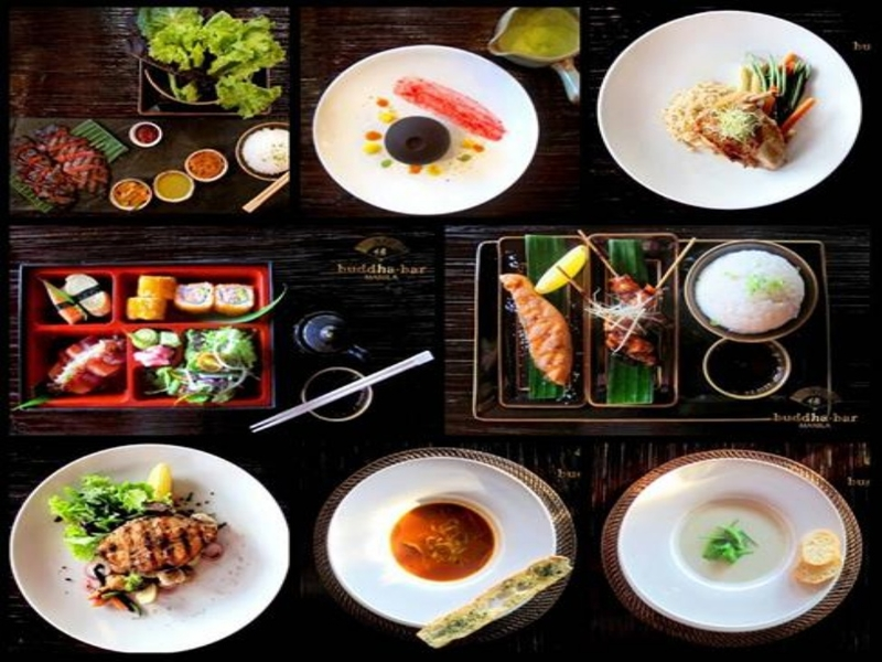 modern asian cuisine served on the table