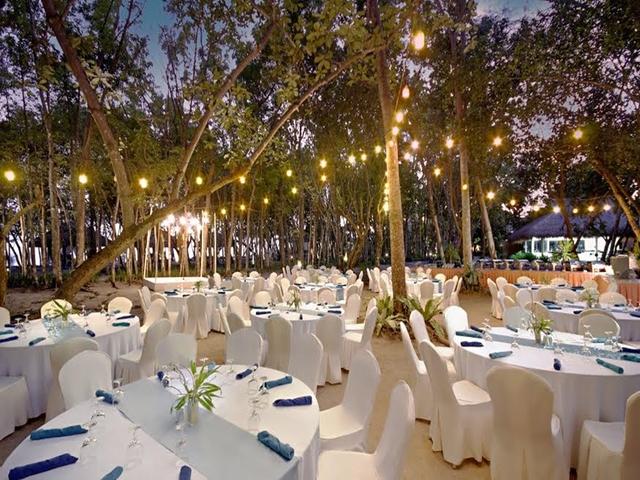 outdoor wedding setup with fairylights decor