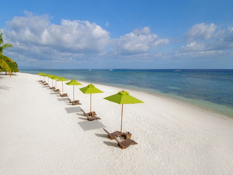 lounge chairs by beachside