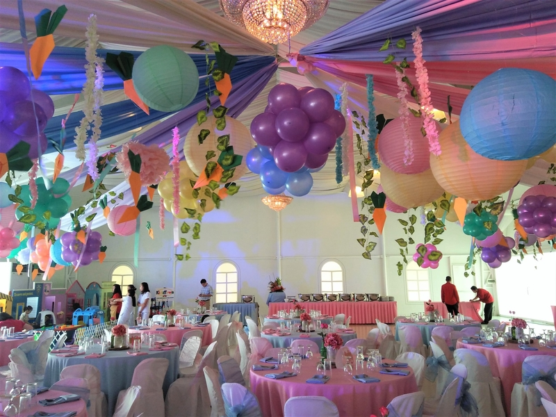 kids birthday party colourful decoration with banquet setup
