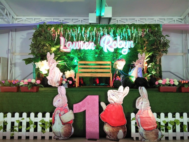 kids 1st birthday party stage decoration with bunny theme