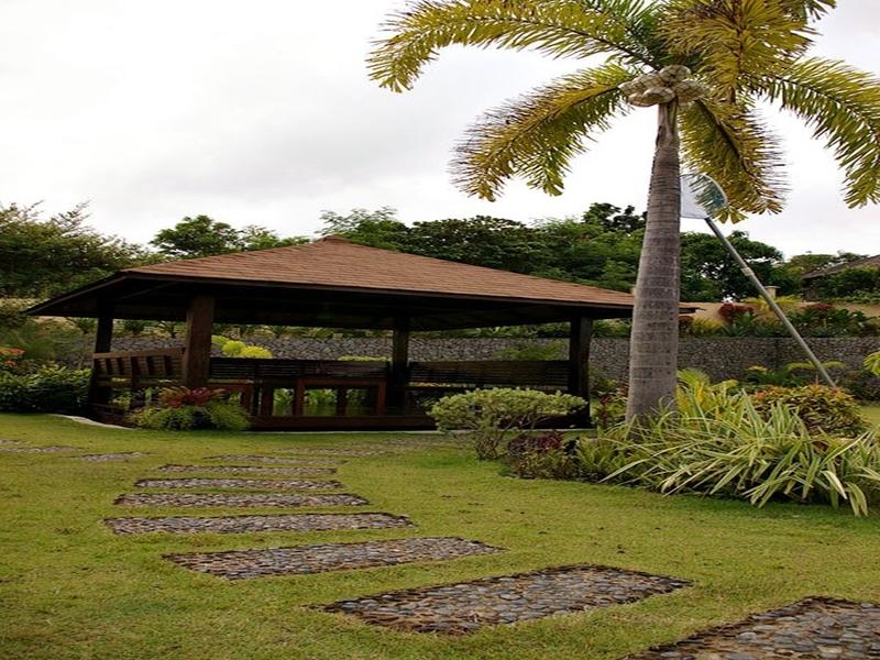 large hut in outdoor garden area