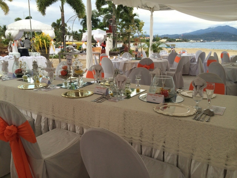 long dining table in philippines corporate event space with sea view