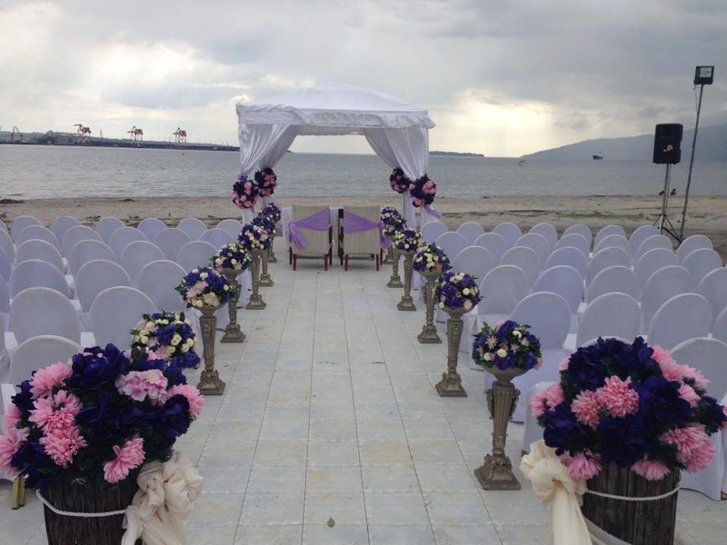 zambales outdoor wedding venue with white decoration and sea view