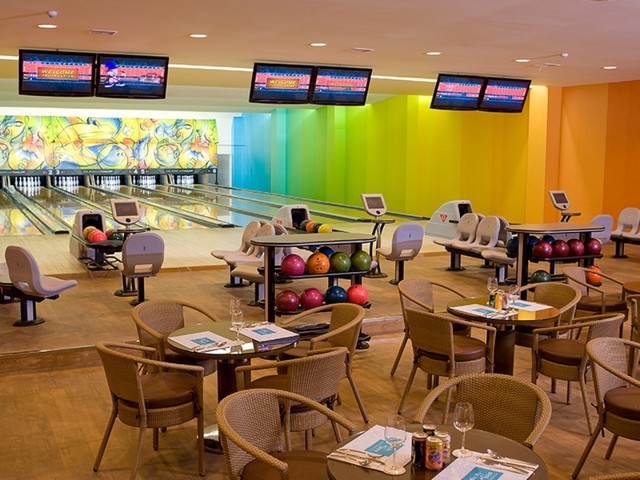 lounging area in bowling alley