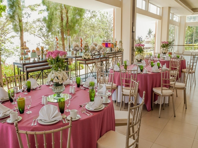 ballroom tables setup for events overlooking garden