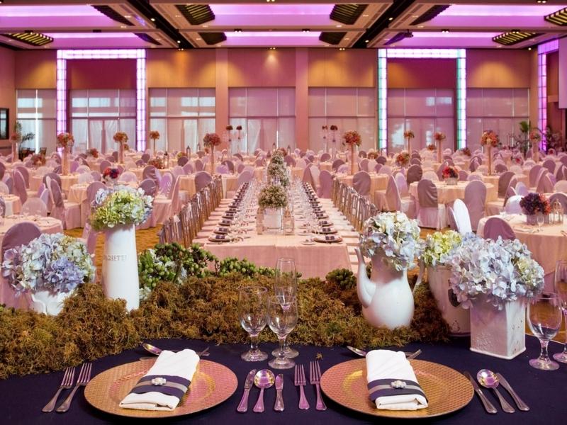 reception event setup in hotel ballroom