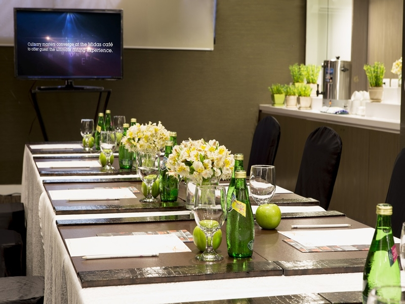 conference room setup with flower decor