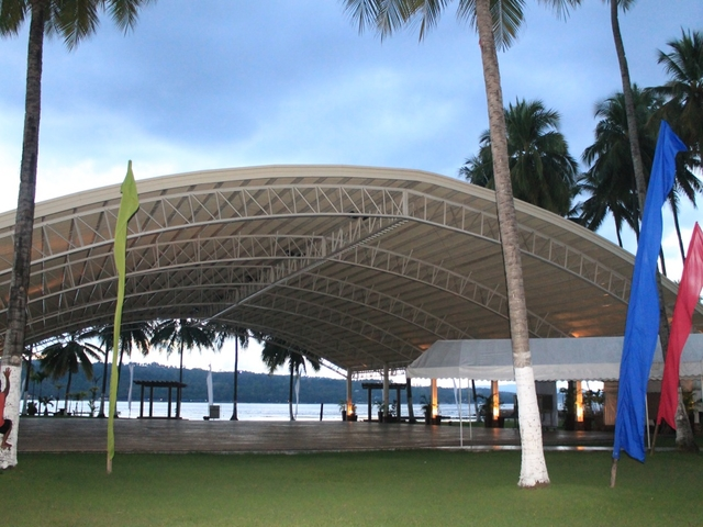 semi-outdoor wedding venue with philippines sea view