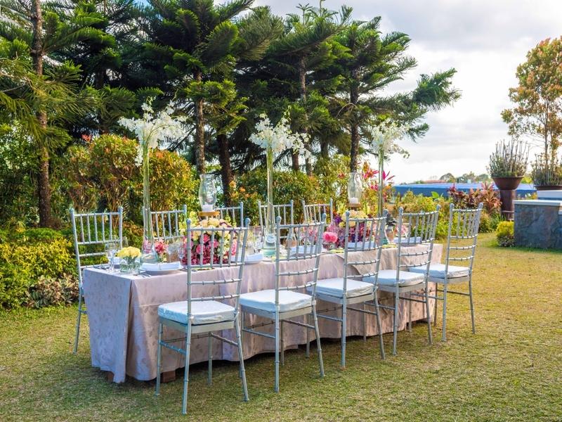 wedding luncheon setup at the hotel's garden