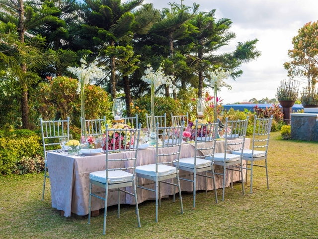 wedding luncheon setup at the hotel's garden