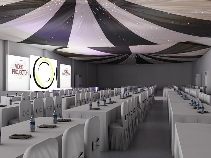 corporate event inside the multifunctional space equipped with audio-visual system
