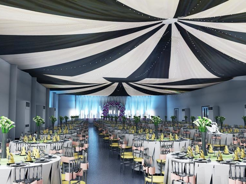 wedding party with banquet style and table decoration on each table