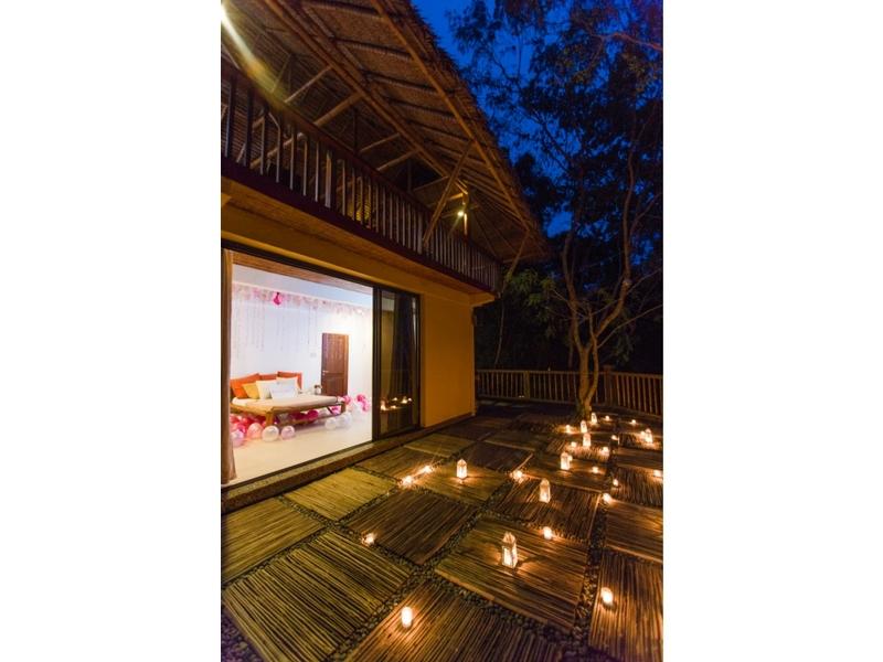 romantic lighting and outdoor setup