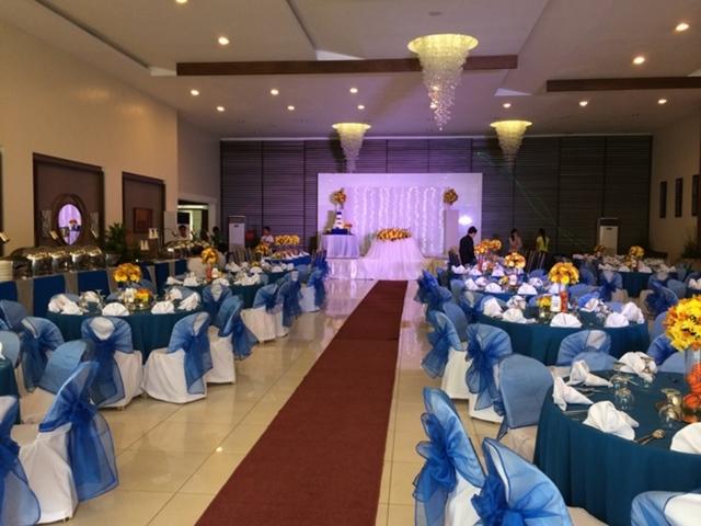 wedding event setup in ballroom