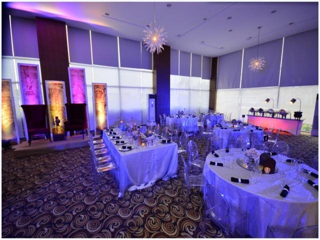 empty ballroom dining setup