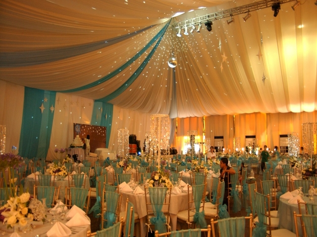 turqoise themed wedding setup in le pavillion hotel