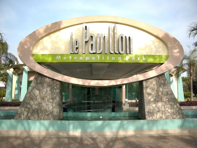 le pavillion signboard as the front building