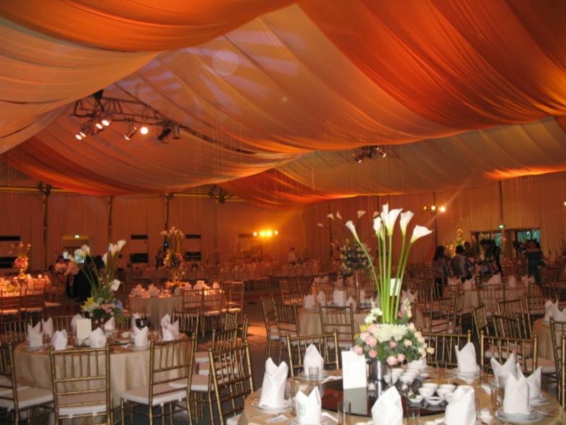 wedding party setup in hotel ballroom