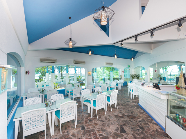 white and blue themed restaurant in singapore