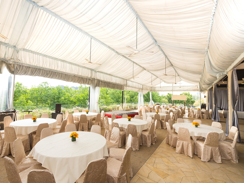 white party tent and banquet seating in singapore event venue