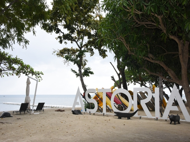the beach area with astoria name and spectacular sea view