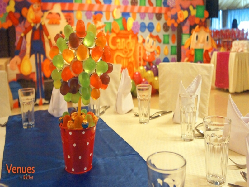 dining table in ballroom birthday party