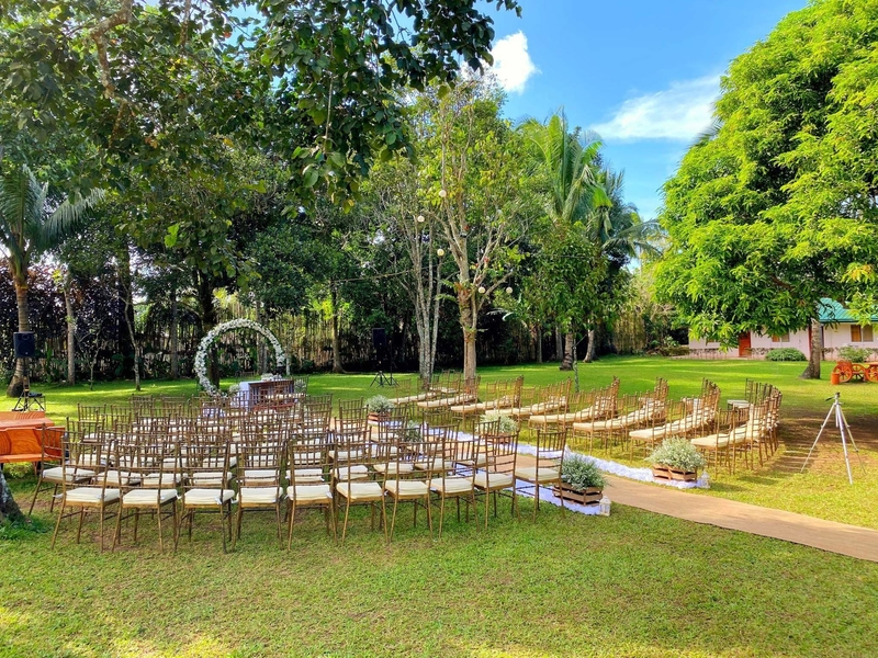 garden wedding and solemnisation party on sunny day