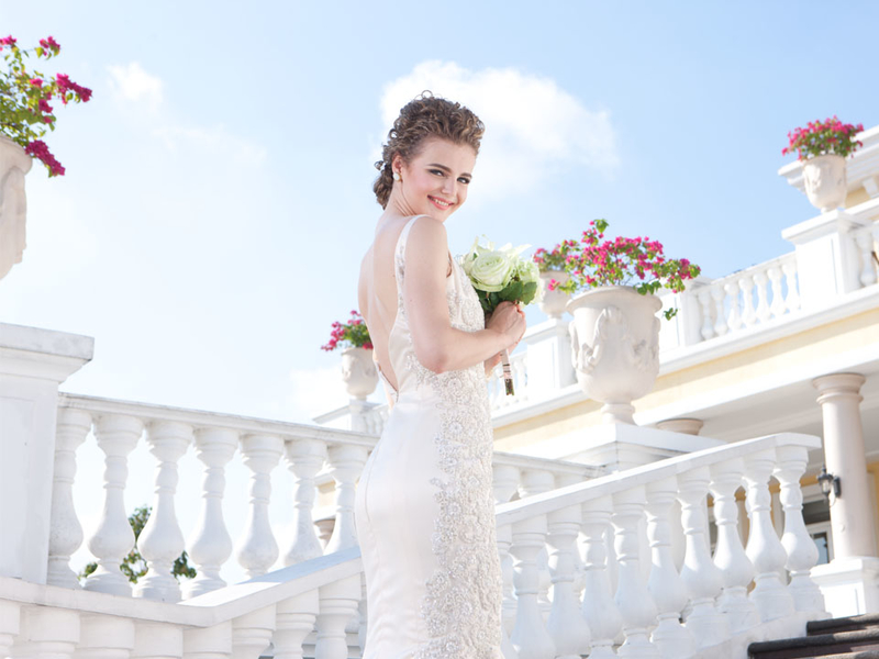 bride doing prewedding shoot in philippines large white event venue