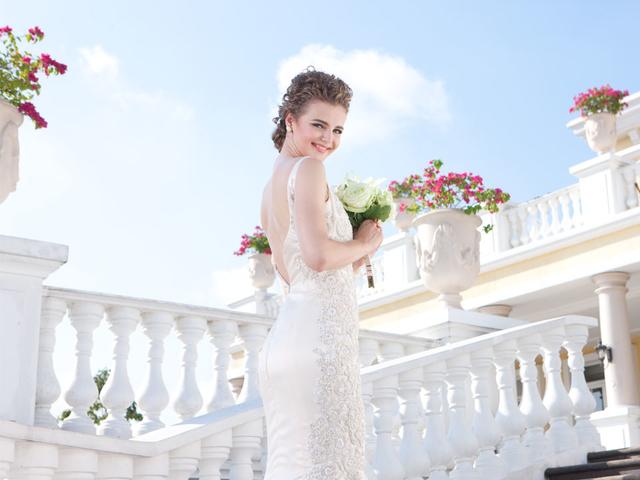 bride doing prewedding shoot in philippines large white event venue
