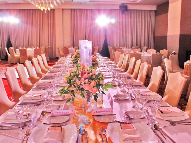corporate annual dinner inside the hotel ballroom