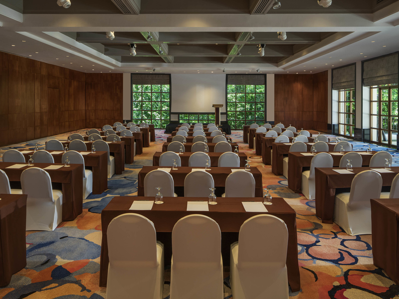 singapore large function room with projector screen and patterned floors