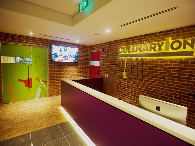 the brick-wall lobby of culinaryon