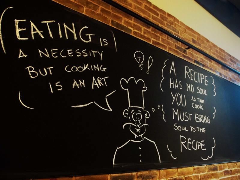 blackboard with eating and cooking theme