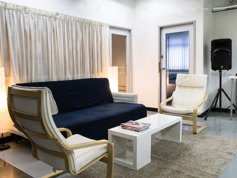 waiting room equipped with sofas and table