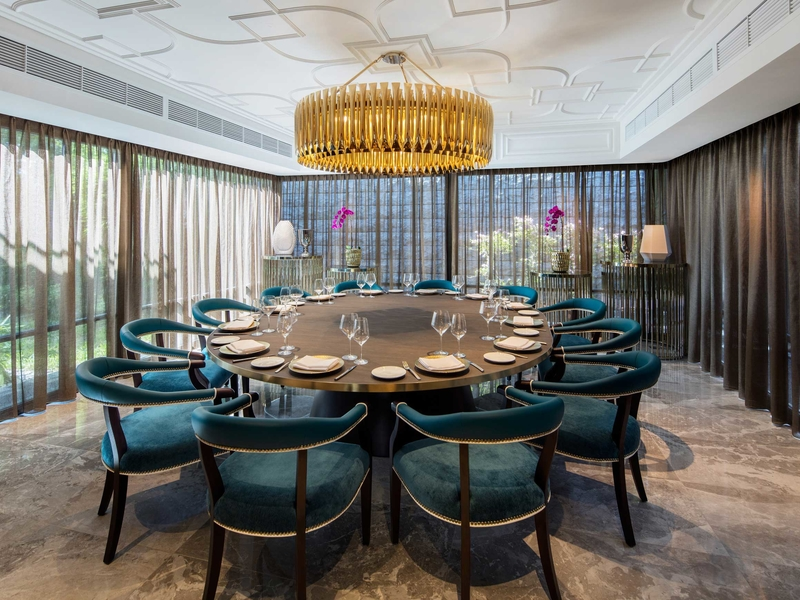 exclusive private dining room with round table