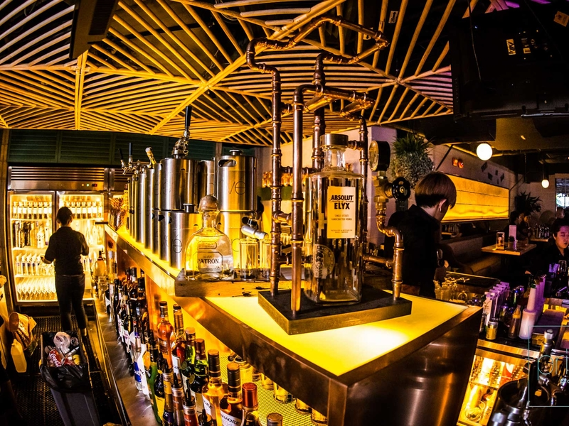 bar with gold interior