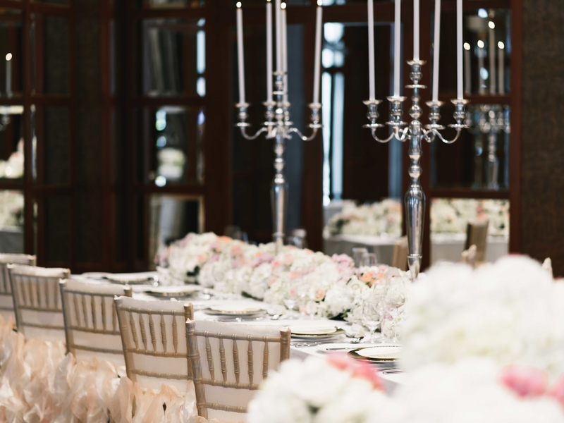 dining table with flower decorations in singapore function room