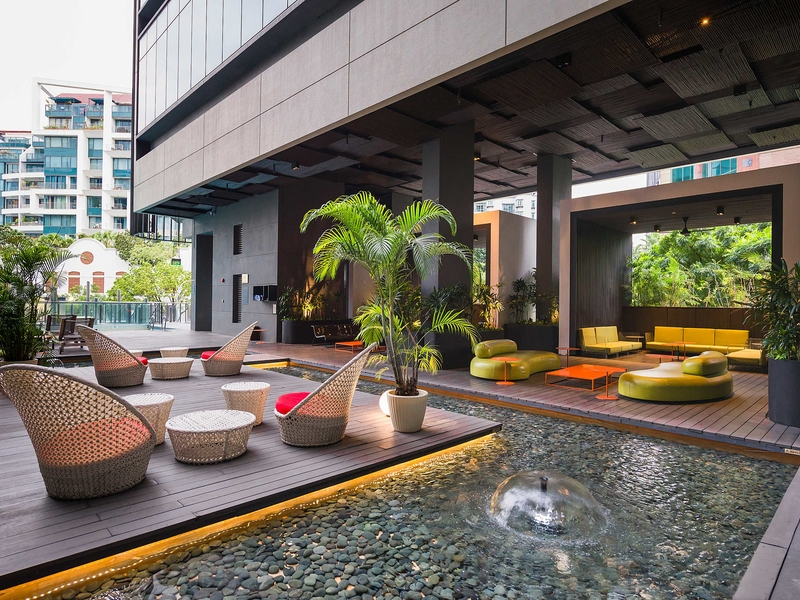mini pool and several couches in singapore outdoor event venue