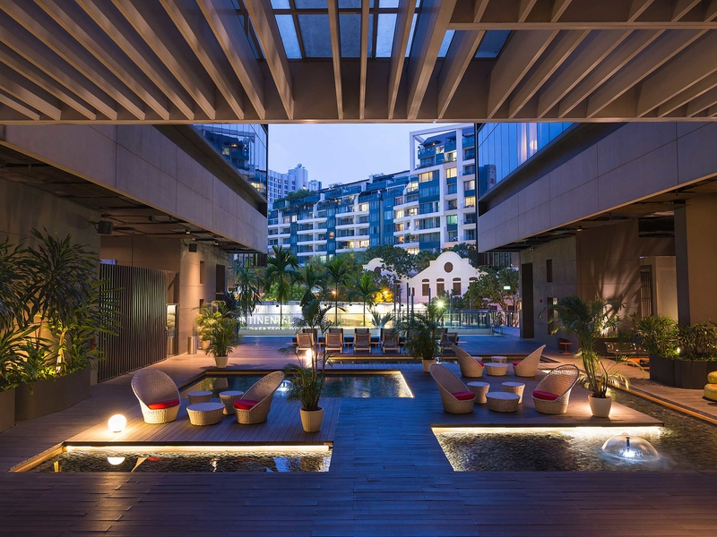 hotel in singapore with mini pool and open-air party area