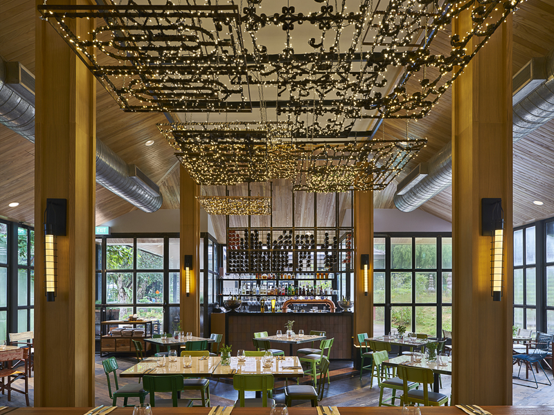 open restaurant with high ceiling and natural light