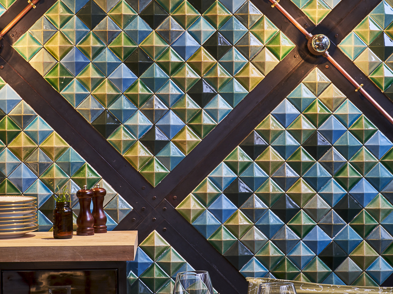 restaurant with unique wall
