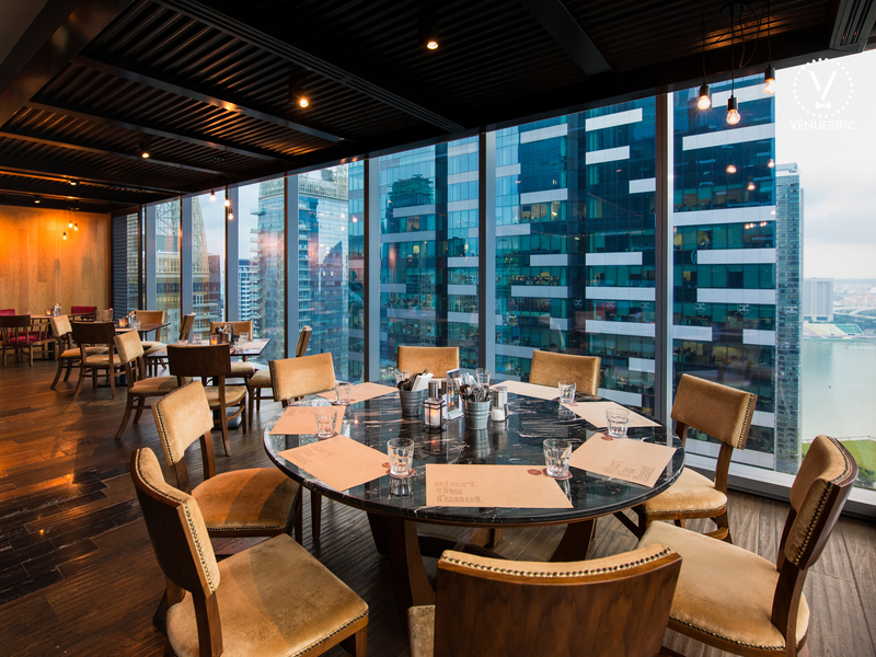 round table dining area with city view