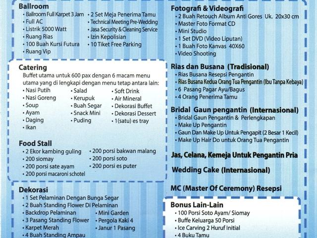 bellagio ballroom wedding function venue with affordable price jakarta